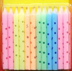 Macaron Color Litte Colorful Dot Printed Birthday Candles