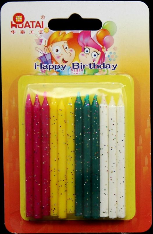 Smokeless 12pcs Sparkling Candles For Birthday Cake 4 Colors
