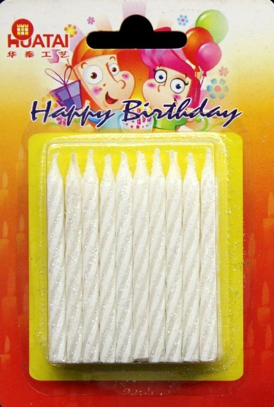 Paraffin Wax White 20pcs Glitter Birthday Candles for Christmas Gift