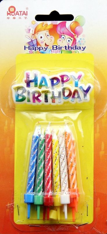 Spiral 0.5cm*6cm Glitter Birthday Cake Candles GSV Certification