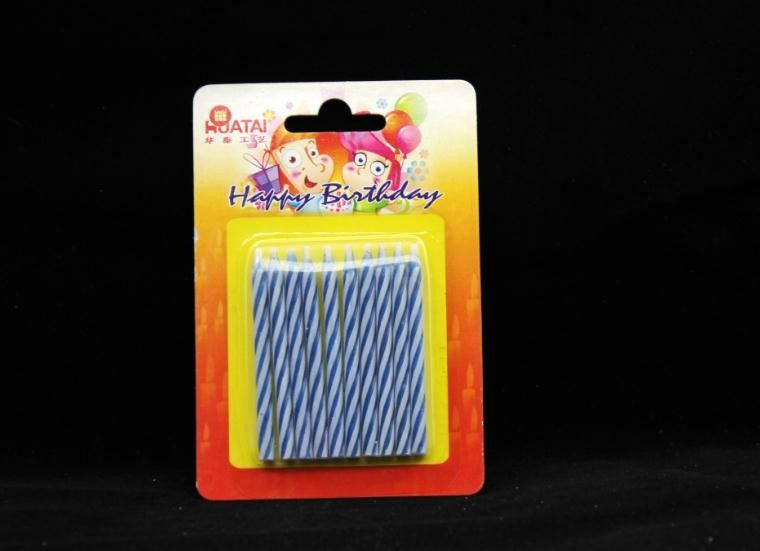 Novelty Disposable Magic Relighting Birthday Candles Blue And White Striped 10Pcs